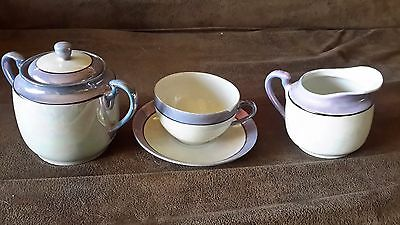 antique lusterware 3 piece set, tea cup and saucer, creamer, sugar bowl, japan