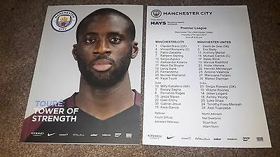 Manchester City V Manchester United 2016-17 With Official Teamsheet