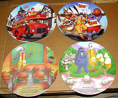 LOT 4 VINTAGE McDONALDS 1989 & 2000 PLASTIC PLATES RONALD MCDONALD PROMO DISHES
