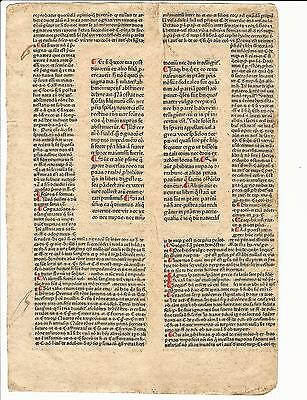 1476 Leaf Justinianus Institutiones Printed Peter Schoeffer Mainz