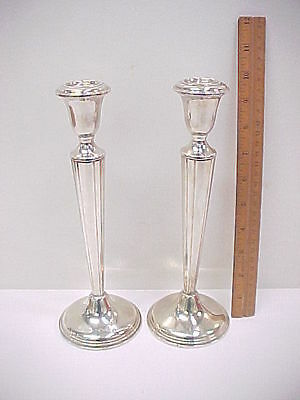 10 inch Pair Empire Sterling Silver Weighted Candlesticks (sm dent & ding)