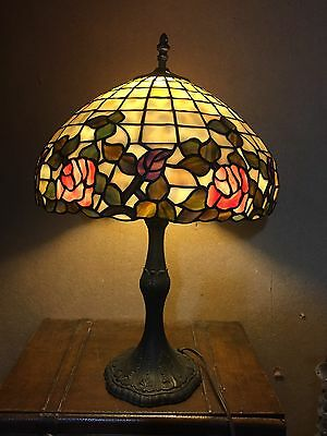 "VTG Art Nouveau style Stained Glass Table Lamp 23"" tiffany style floral LARGE"