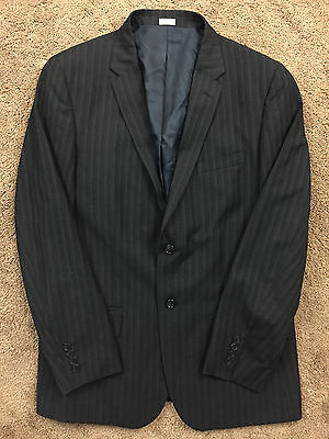 CALVIN KLEIN Charcoal Gray wool Blend Pinstripe Suit Flat Front Men L 32 X 30