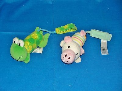 Infantino plush Pig Frog Bell Rattles baby crib toy wrist ankle foot strap 5""