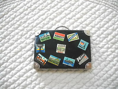 Vintage Lederer Mini Compact Case - Suitcase With Luggage Tags