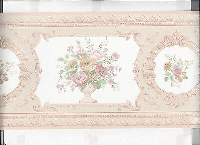 Wallpaper Border Satin Finish Victorian Floral Flowers In Vase New Arrival