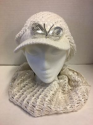 Justice Brand White Crochet Knit Girls Newsboy Cabbie Cap Hat With Knit Scarf