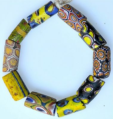 10 Venetian (Mostly) Millefiori Glass Trade Beads - African Trade Beads