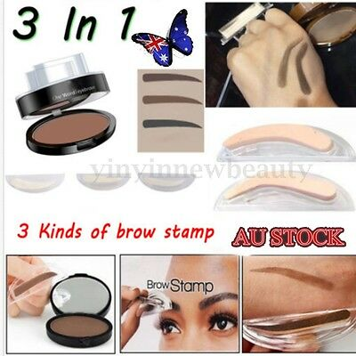 3 In1 Natural Eyebrow Powder Makeup Brow Stamp Delicated Shadow Definition Hot