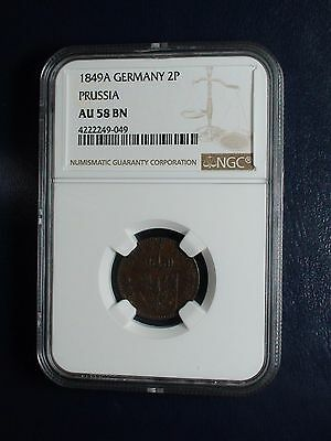 1849A Germany Prussia Two Pfenninge NGC AU58 BN COIN PRICED TO SELL NOW !