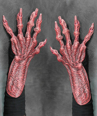 Red Devil Demon Bloody Undead Hands Feind Scary Adult Halloween Costume Gloves