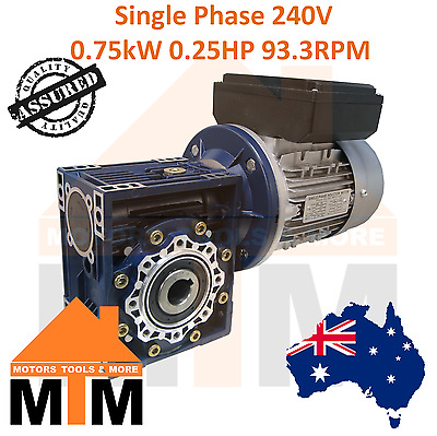 Single Phase 0.75kW 1HP 93.3rpm Type 50 Electric Motor & Worm Gearbox Drive i30