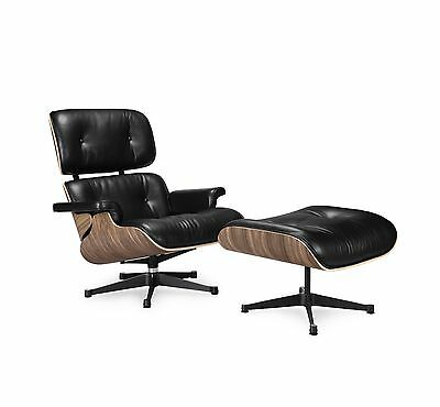 Nicer Furniture Eames Lounge Chair and Ottoman Black 100% Italian Genuine Ful...