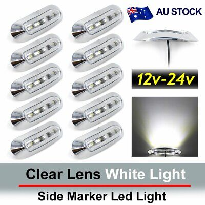 10X 4 SMD White LED Side Clearance Marker Light Truck Tail Trailer Lamp AU Ship