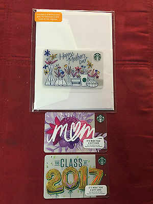 3 New Starbucks 2017 Happy Mothers Day & Class Of 2017 Gift/greeting Cards Lot