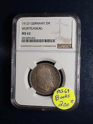 1912F Germany 2 Reichsmark NGC MS62 WURTTEMBERG 2M COIN PRICED TO SELL !