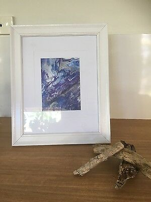 framed original abstract modern painting blue, white