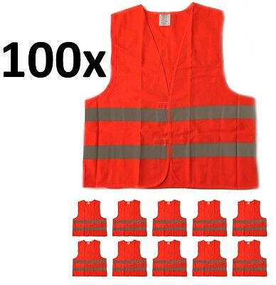 100 x Wholesale Lot Orange Reflective Safety Vest, Class 2, XL Size, Bulk Sale