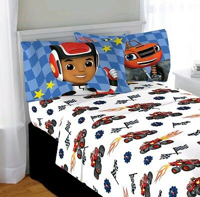 Nickelodeon Blaze And The Monster Machines Microfiber Twin Bed Sheet Set.