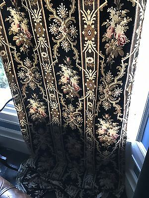 Antique French Fabric panel c1890 Napoleonic Toile Black And Roses Pinks 120""