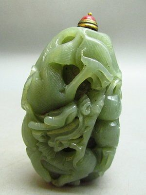 Chinese HeTian Nephrite Jade Carved Dragon Pattern Snuff Bottle
