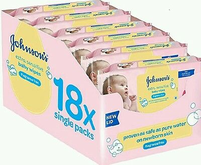 Johnsons SENSITIVE Baby Wipes 18 Packs of 56 (1008) Johnson's Cleansing Extra