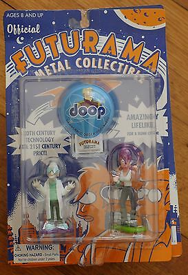 Futurama Metal Collectible Figure Set Series 1 BNIB 2001 Rocket USA Bender Leela