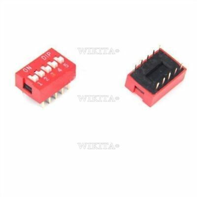 10Pcs Slide Type Switch Module 2.54MM 5-Bit 5 Position Way Red Pitch Dip New or