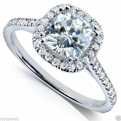 2.00ct Cushion Cut Diamond Solitaire Halo Engagement Ring 14k Real White Gold
