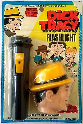 DICK TRACY figure head flashlight toy (1975) Chester Gould-Creative Creations