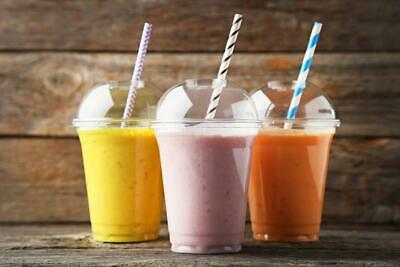 12/14oz Smoothie Cup & Lids Plastic Party Milkshake Slush With Straws With Lids