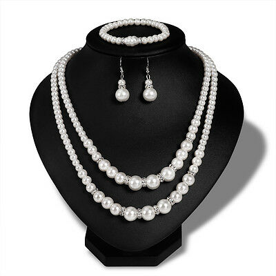Pearls Necklace Earrings Set Wedding White Gold Plated & Crystal Jewelry Sets