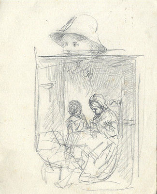 Joseph Clark - Late 19th Century Graphite Drawing, With Mother