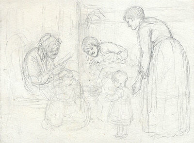 Joseph Clark - Late 19th Century Graphite Drawing, With the Children