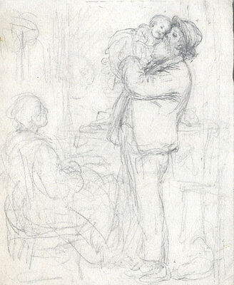 Joseph Clark - Late 19th Century Graphite Drawing, Carried by Papa
