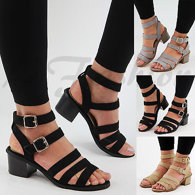 New Womens Mid Block Heel Sandals Buckle Ankle Strap Summer Strappy Shoes Sizes