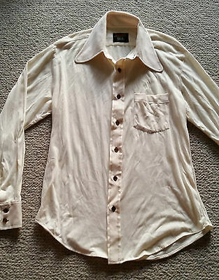 Boydex vintage 1970's body shirt cream with brown buttons & stitching sz S M