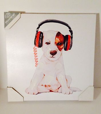 "New Puppy With Headphones 12""x12"" Printed Canvas With Oil Paint Touches"