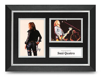 Suzi Quatro Signed A4 Photo Framed Display Music Memorabilia Autograph + COA