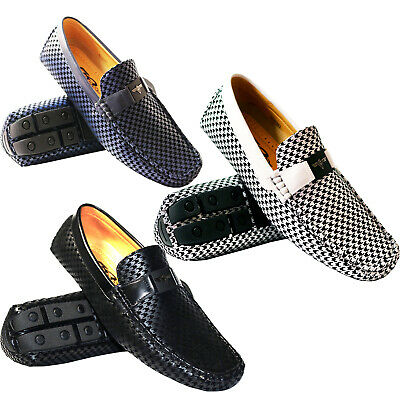 New Mens Italian Moccasin Smart Casual Slip On Loafers In Black White And Blue
