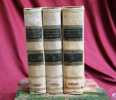 3 Antique books LOGIC ET METAPH, 4 volumes, Napels 1816 Italy. PSYCHOLOGY