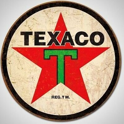 Texaco 36 Logo Round Distressed Retro Vintage Tin Sign Decor New Free Shipping