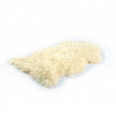 New British Luxury Natural Ivory Cream Sheepskin Rug 110 x 70 cm