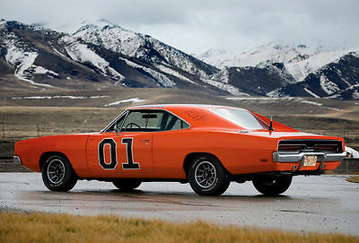 """GENERAL LEE - Dodge Charger 1969 - Canvas Print Poster 8X12"""""""