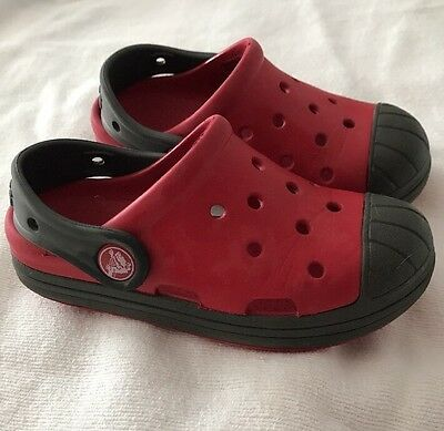 Crocs Slip On Shoes Sz C 10  Kids Clogs Water Casual Red & Grey