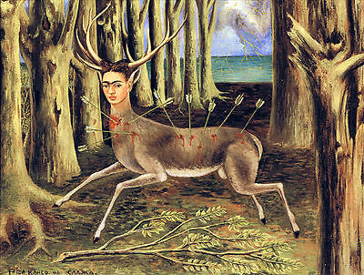 """FRIDA KAHLO - The Wounded Deer - Canvas Print Poster 12X16"""""""