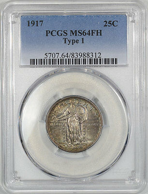 1917 Standing Liberty Quarter - Type I Pcgs Ms-64 Fh.  The Reeded Edge!