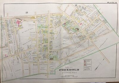 Orig 1905 Freehold, New Jersey, Monument Park, Court House & Jail Plat Atlas Map
