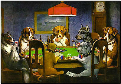 """Dogs Playing Poker High Quality Canvas Print Poster 18X24"""""""