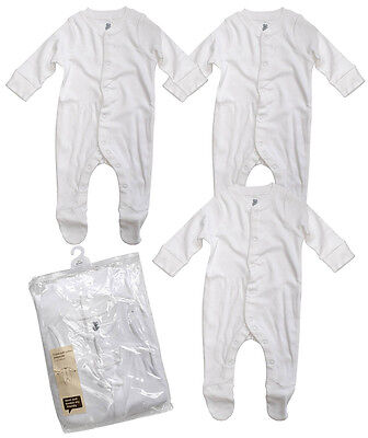 Baby PACK OF 3 Basics White Sleepsuit Popper Rompers Newborn to 18 Months